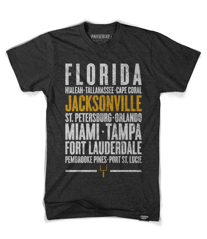 Jacksonville Florida - Third and Long - Tri-Black Shirt - Unisex - Parkway Prints