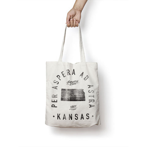 State of Kansas - Motto - Tote Bag
