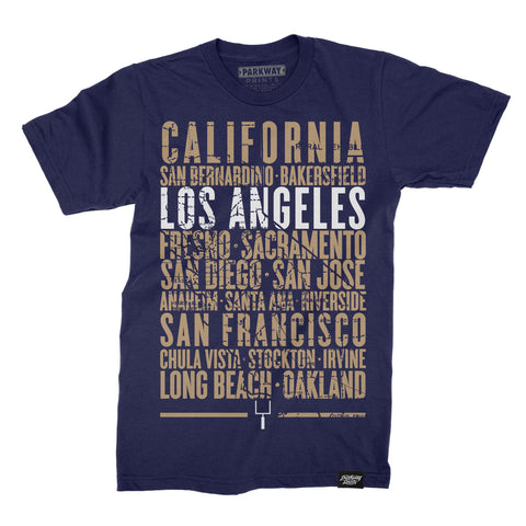 Los Angeles California - Third and Long - Navy Shirt Unisex - Parkway Prints