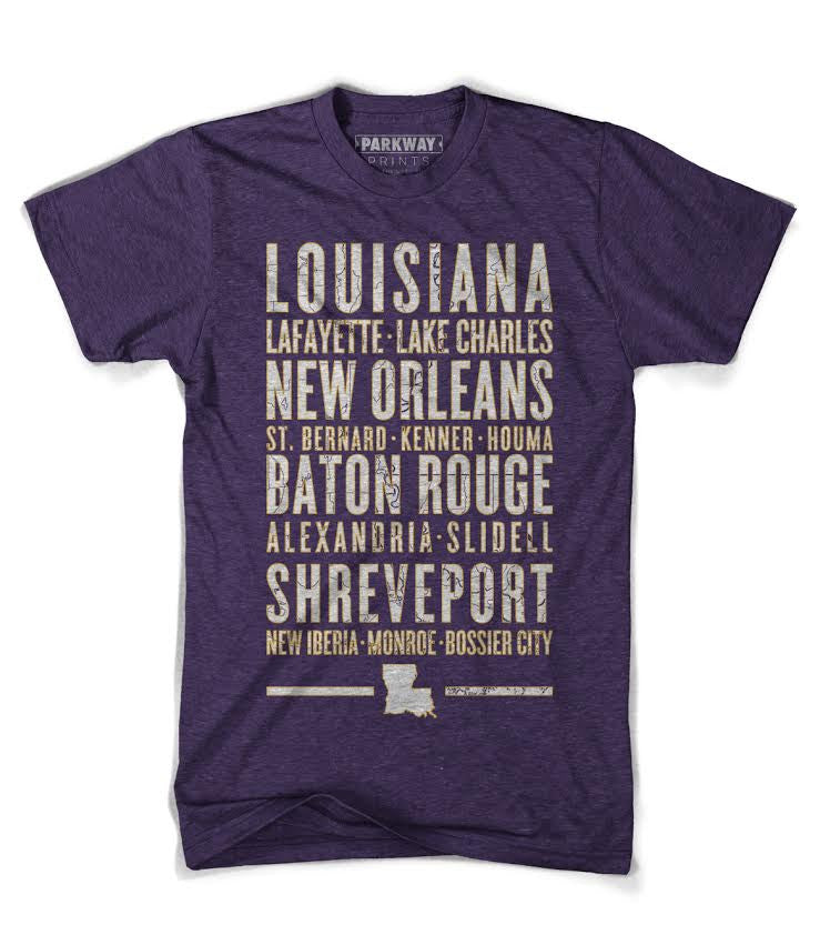 Louisiana Varsity Shirt - Heather Purple - Unisex - Parkway Prints