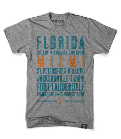 Miami Florida - Third and Long - Heather Grey Shirt - Unisex - Parkway Prints