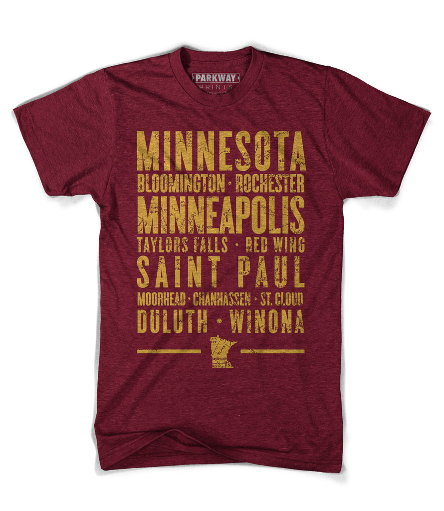 Minnesota Varsity Shirt - Heather Cranberry - Unisex - Parkway Prints
