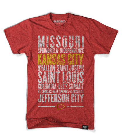 Kansas City Missouri - Third and Long - Heather Red Shirt - Unisex - Parkway Prints