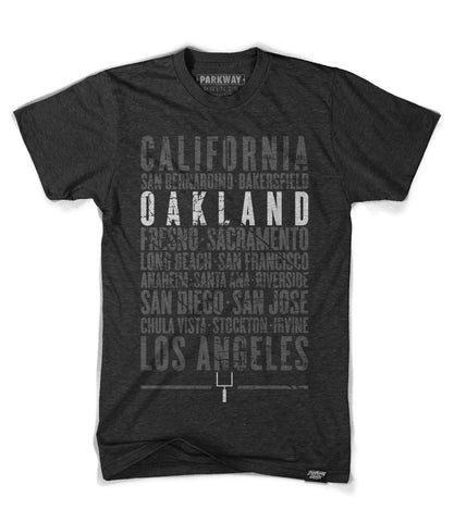 Oakland California State Shirt in Black - Unisex - Parkway Prints