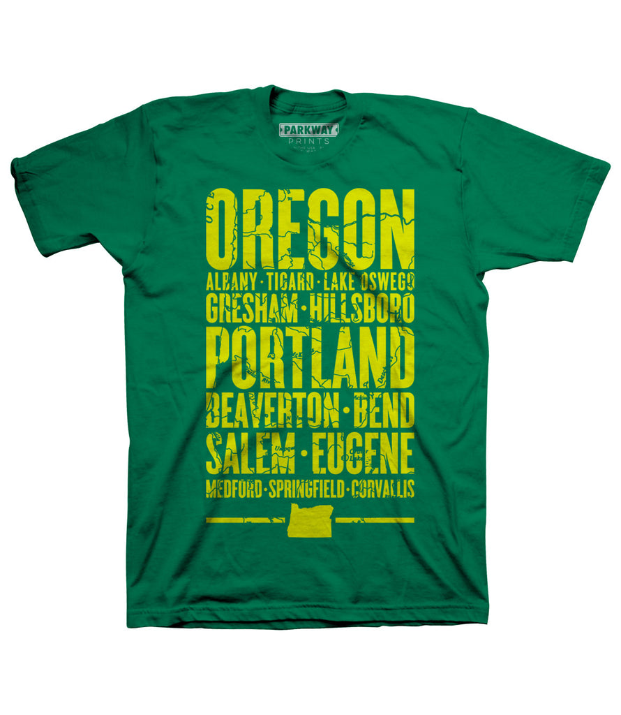 Oregon Varsity Shirt - Kelly Green - Unisex - Parkway Prints