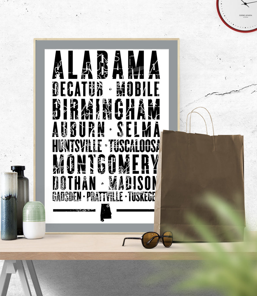 "Alabama State Poster 18"" x 24"" - Parkway Prints"