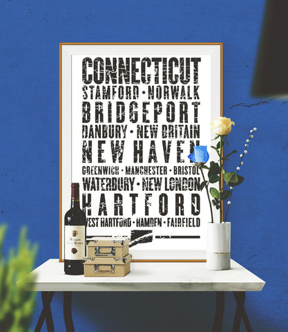 "Connecticut State Poster - 18"" x 24"""