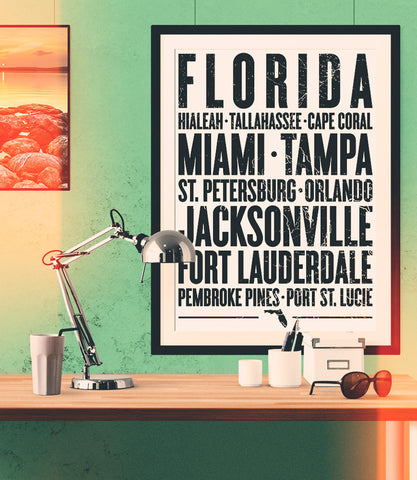 "Florida State Poster - 18"" x 24"" - Parkway Prints"