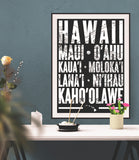 Hawaiian Islands Poster - 18 x 24 - Parkway Prints