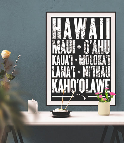 Hawaiian Islands Poster - 18 x 24