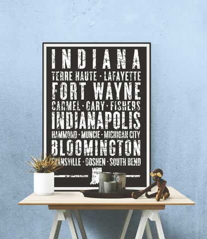 "Indiana State Poster - 18"" x 24"""