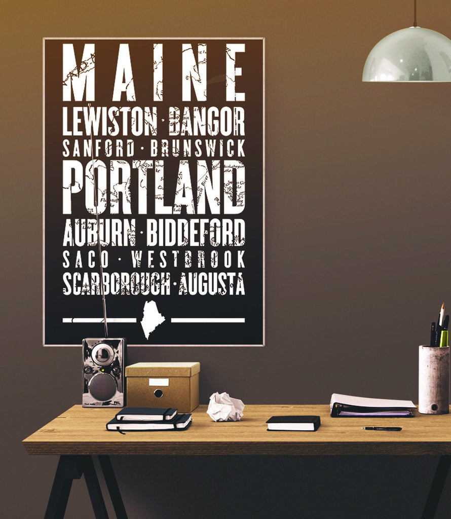 "Maine State Poster - 18"" x 24"""