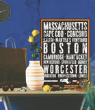 "Massachusetts State Poster - 18"" x 24"" - Parkway Prints"