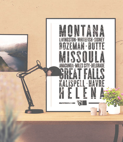 "Montana State Poster - 18"" x 24"" - Parkway Prints"
