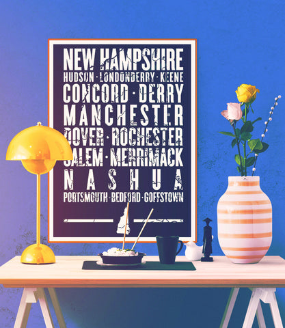 "New Hampshire State Poster - 18"" x 24"""