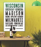 "Wisconsin State Poster - 18"" x 24"" - Parkway Prints"