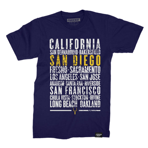 San Diego California - Third and Long - Navy Shirt - Unisex - Parkway Prints