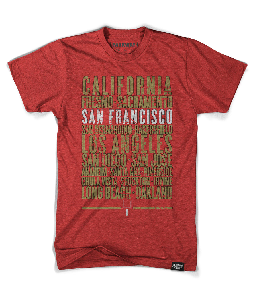 San Francisco California - Third and Long - Heather Red Shirt - Unisex - Parkway Prints