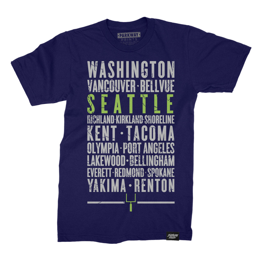 Seattle Washington - Third and Long - Navy Shirt - Unisex