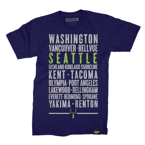 Seattle Washington - Third and Long - Navy Shirt - Unisex - Parkway Prints