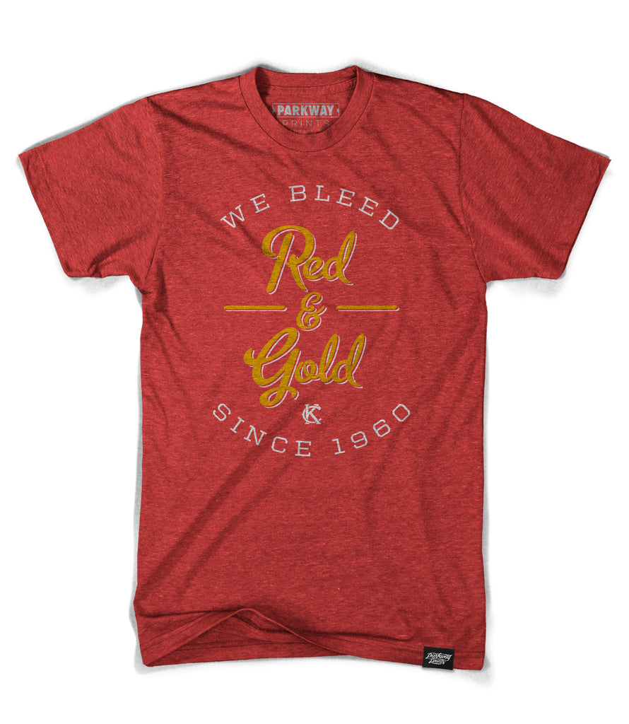 We Bleed Red & Gold - Red Polyester Cotton Blend - Unisex - Parkway Prints