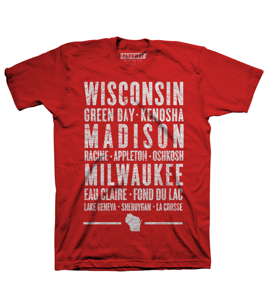 Wisconsin Varsity Shirt - Red - Unisex - Parkway Prints