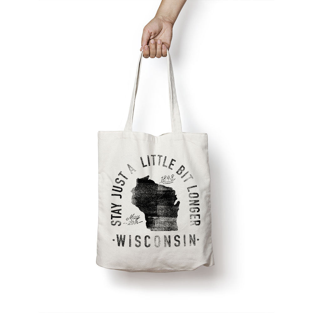 State of Wisconsin - Motto - Tote Bag
