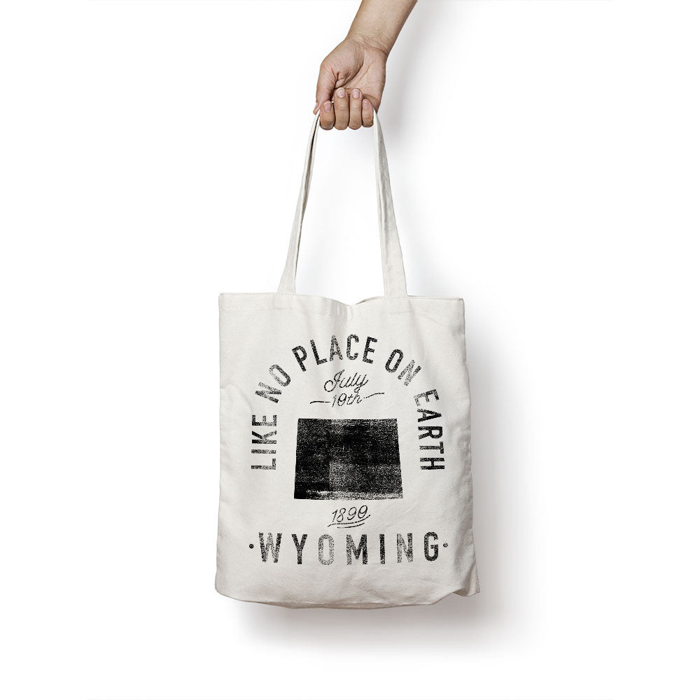 State of Wyoming - Motto - Tote Bag