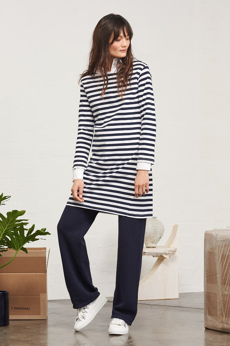 BUILDING BLOCK BOAT NECK DRESS (NAVY STRIPE)
