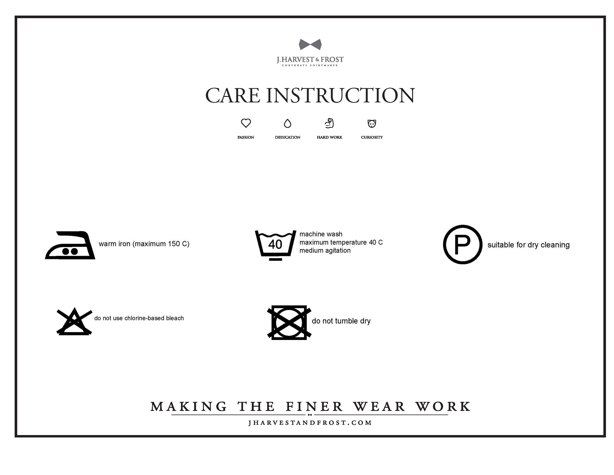 Care Instructions J Harvest Frost Corporate Shirtmaker