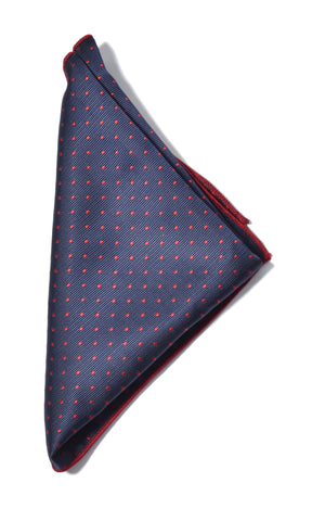 Dotted pocket square - 604 navy/red