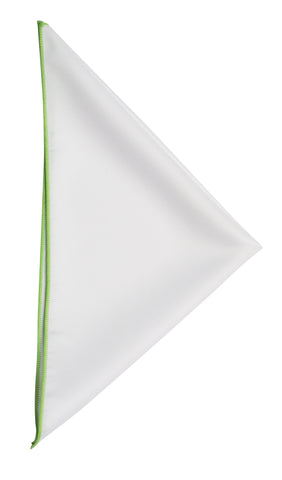 White pocket square - 107 Spring Green