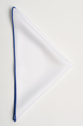 White pocket square - 115 Blue