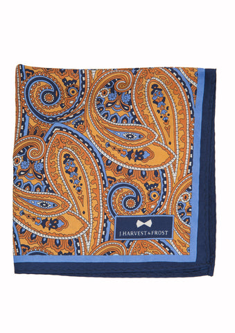 Silk Paisley Pocket square - 388 Orange