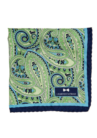 Silk Paisley Pocket square - 788 Green