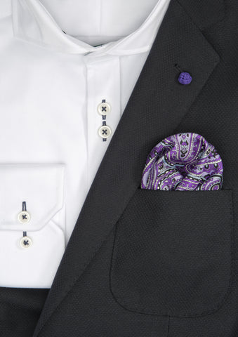 Silk Paisley Pocket square - 888 Purple
