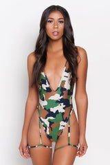 Camo Gia Garter Belt One Piece