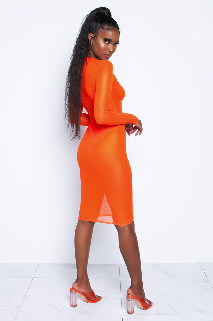 Electric Neon Orange Mesh Dress