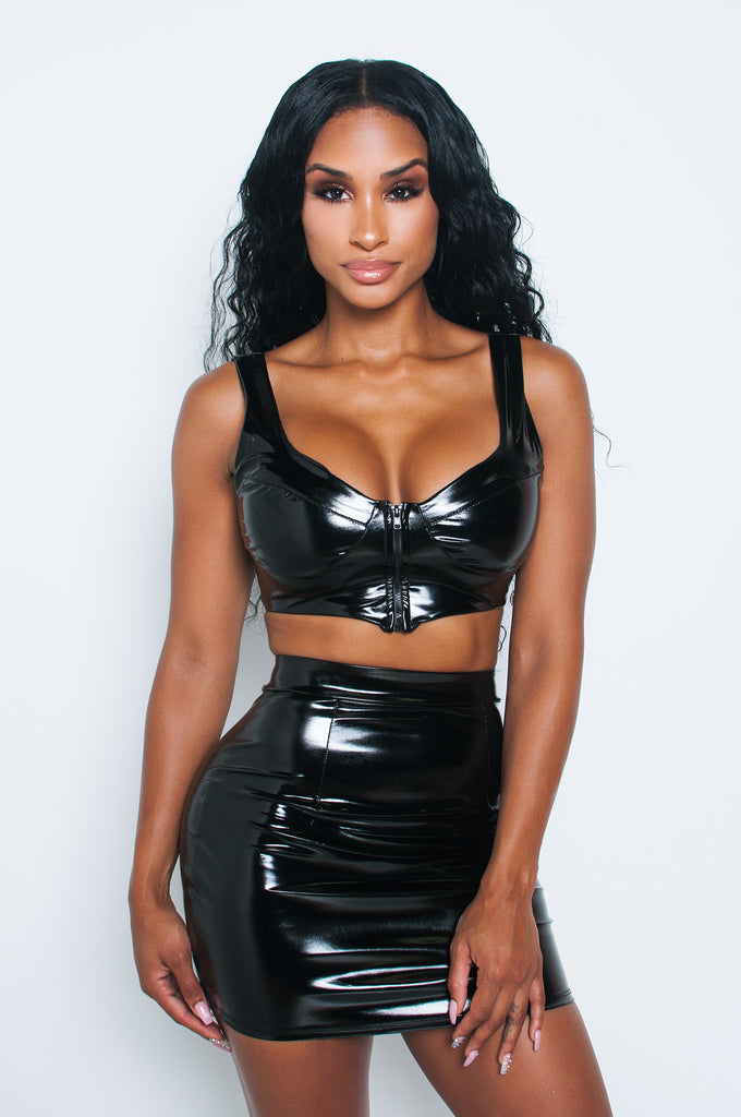 Black Latex Crop Tank
