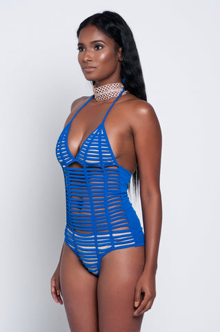Blue Strapped One Piece Swimsuit