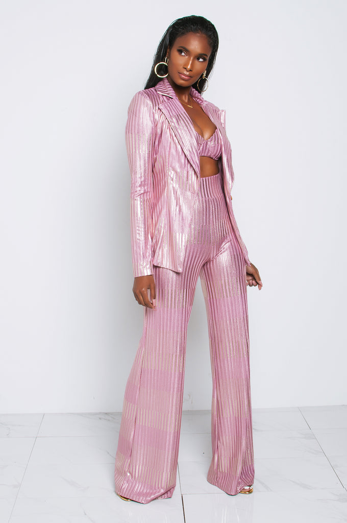 PINK FOXY SHIMMER WIDE LEG TROUSERS