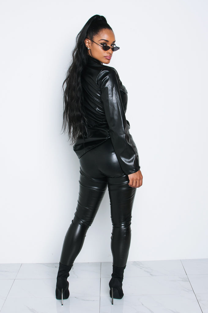 Black Leather Boyfriend Shirt