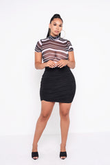 Black Lillie Ruched Mini Skirt