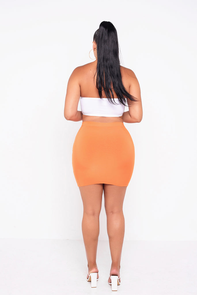 Orange Lillie Ruched Mini Skirt