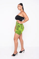 Electric Zebra Green Lillie Ruched Mini Skirt