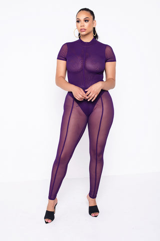 Purple Zoey Sheer Bodysuit