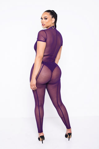 Purple Zoey Sheer Pants