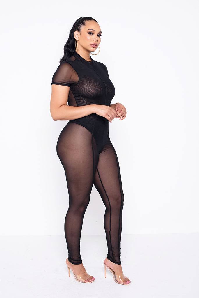 Black Zoey  Sheer Bodysuit