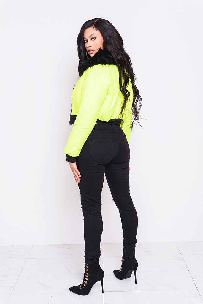 Neon Yellow Puffer Jacket