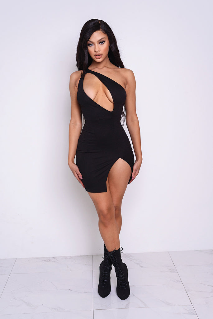 Vixen Black Asymmetrical Cutout Dress